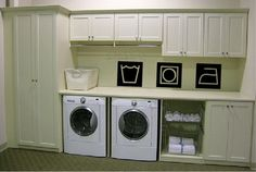 Items similar to Laundry Room - Wash Dry Iron - Vinyl Wall Decal on Etsy Laundry Room Layouts, Laundry Room Cabinets, Cupboards, My Home Design, House Design, Laundry Closet, Laundry Area, Laundry Rooms, Mud Rooms