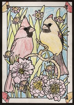 abigail christenson under 12 division from beautiful birds in mated pairs stained glass coloring - Html Color Sheet