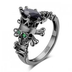 3.0 CT Black Diamond with Emerald Eyes Sterling Silver Skeleton Head Designer Skull Engagement Ring