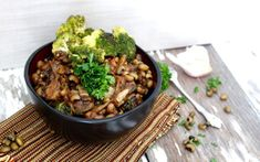 This Asian-inspired veggie bowl has mushrooms, broccoli, black eyed peas, and mushrooms.