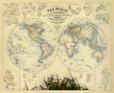 Map of the world  Vintage map of the world  33 x by AncientShades, $48.00