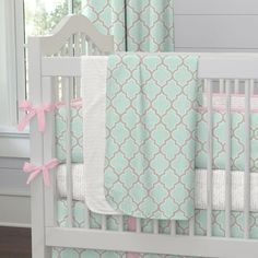 Baby Blanket in Mint and Pink Quatrefoil by Carousel Designs.