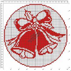 Schema gratis filet uncinetto centrino rotondo con campane di Natale diametro 78.jpg (640×640)