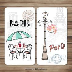 Desenhados mão bonitos Paris cartões Vetor grátis