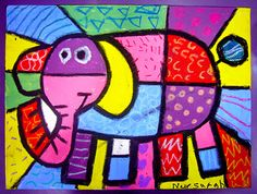 Art Project for kids - Elmar Romero britto Classroom Art Projects, Art Classroom, First Grade Art, Animal Art Projects, Motifs Animal, Creation Art, Ecole Art, Shape Art, Elephant Art