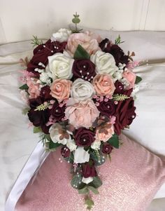 Planning A Fantastic Flower Wedding Bouquet – Bridezilla Flowers Burgundy And Blush Wedding, Burgundy Bouquet, Burgundy Flowers, Peach Blush, Blush Bouquet, Winter Wedding Flowers, Bridal Flowers, Floral Wedding, Wedding Colors