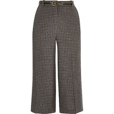 Grey check belted culotte shorts - trousers - sale - women