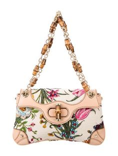 Natural and multicolor floral print canvas Gucci Flora shoulder bag with pale gold-tone hardware, beige leather trim, beaded accents at exterior, tonal stitching, dual chain-link and bamboo shoulder straps, olive green canvas lining, single pocket at interior wall and turn-lock closure at front flap. Shop authentic designer handbags by Gucci at The RealReal.