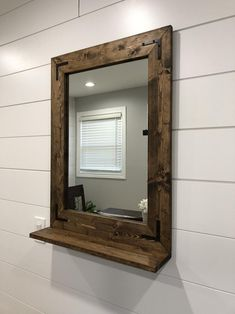 Your place to buy and sell all things handmade,Mirror with 5 Deep Shelf Bathroom Mirror Entryway Rustic Bathroom Mirrors, Bathroom Mirror With Shelf, Farmhouse Mirrors, Entryway Mirror, Wood Framed Mirror, Diy Mirror, Wood Framed Bathroom Mirrors, Mirror House, Sunburst Mirror