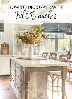 The very first thing I like to do as fall approaches is bring a bit of the outdoors inside, so with that in mind, I wanted to share some ideas about how to decorate with fall branches. Fall Home Decor, Autumn Home, Diy Home Decor, Autumn Style, Kitchen Center Island, Modern Farmhouse Design, Farmhouse Style, Decor Inspiration, Decor Ideas