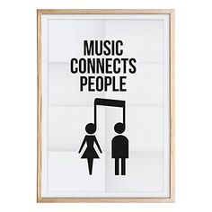 Affiche imprimée encadrée Music Connect  écru et noir  50 x 70 x 1,6 cm