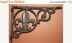 ON SALE 6 pcs) Fleur De Lis Shelf Brackets, Free Shipping, Corbels, Cast Iron Shelf Brackets, Fleur De Lis Gingerbread trim, cast ironB-3 by wepeddlemetal. Explore more products on http://wepeddlemetal.etsy.com