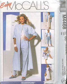 McCall's Duster-Pants-Skirts-Top Pattern 4468 SZ 12-18