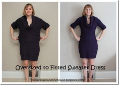 Love Elvira's oversized to fitted sweater dress alteration!