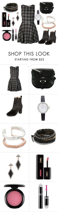 """Flared dress"" by hillarymaguire ❤ liked on Polyvore featuring Alice + Olivia, Hogan, Raye, Kate Spade, Maya Magal, Chan Luu, MAHA LOZI, Yves Saint Laurent, MAC Cosmetics and Guerlain"