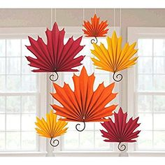 Amscan Colors of Fall Thanksgiving Party Autumn Leaves Hanging Fans Decoration (Pack of Orange/Red, x (Package Size) Elegant leaf shaped, fans in autumn colors. Made of light material that makes room placement easy. Various leaf sizes 6 in a package. Halloween Crafts For Kids, Diy Halloween Decorations, Fall Decorations, Paper Fan Decorations, Paper Fans, Autumn Crafts, Autumn Activities, Leaf Shapes, Autumn Leaves