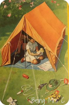 I loved playing in a blanket tent in our country back yard. I played doctor with candy pills, my dolls, and kittens. Vintage Illustration Art, Children's Book Illustration, Vintage Posters, Vintage Art, Vintage Paintings, Backyard Camping, Ladybird Books, Chica Anime Manga, Happy Pictures