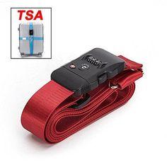 BlueCosto (Red) TSA Lock Adjustable Heavy Duty Cross Luggage Strap Suitcase Travel Bag Belt 600003-RED