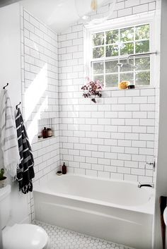 Bathroom Reveal White Tileswhite