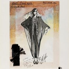 Bill Gibb, costume design, London, 1986 l Victoria and Albert Museum Ink Illustrations, Fashion Illustrations, Fashion Illustration Vintage, Fashion Design Sketches, Fashion Designers, Victoria And Albert Museum, Silhouette, Fashion Plates, Designs To Draw