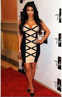 Herve Leger Kim Kardashian Black Nude Corset Bandage Dress