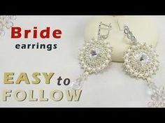 How to make earrings using 14 mm rivoli beading tutorial - YouTube