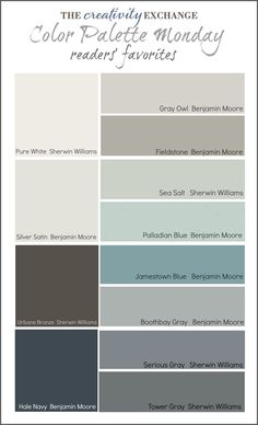 Readers' Favorite Paint Colors {Color Palette Monday} I hope you guys had a fantastic weekend and a great of July! This week for Color Palette Monday, I've pulled a palette together of readers' favorite paint colors from feedback over the last 12 week Colour Schemes, Color Combos, Color Palettes, Paint Palettes, Paint Schemes, Paint Combinations, Color Trends, Wall Colors, House Colors