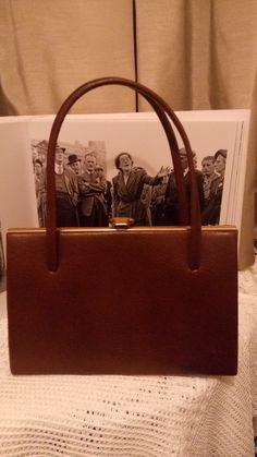 d942f0598189 vintage 1950s kelly style brown leather handbag authentic prop beautiful vintage  handbag by MrsOldSchoolShop on Etsy