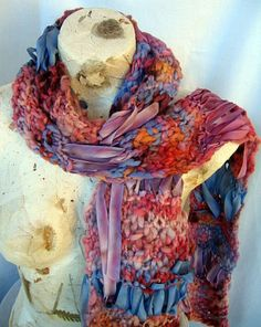 Hand Knit Scarf Handspun Yarn Hand Dyed Silk by EnchantedKnits