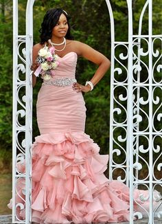 pink bottom ruffle maggie sottero wedding dress sweetheart neckline beaded sash pearl necklace ruffled asymmetrical ruching african american real brides customer from Perfection Prom and Bridal Tampa