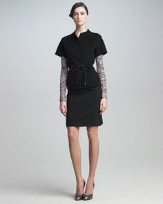 Short-Sleeve Jacket, Dot-Print Tee & Classic Pencil Skirt by Piazza Sempione at Neiman Marcus.