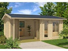 BZBCabins.com Mooncliff Log Cabin Kit  tHE MODERN GARDEN HOUSE MOONCLIFF, WITH ITS FLOOR SPACE OF 164 SQ.FT. IMPRESSES WITH ITS GREAT DESIGN AND IS AN EYE-CATCHER FOR YOUR GARDEN. THE ANGLED INTERIOR ALLOWS YOU TO HAVE MANY DESIGN OPTIONS. THE ...