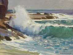"2016 Founders' Award presented to LPAPA Signature Artist Ray Roberts for ""Shorebreakers at Aliso Beach"""