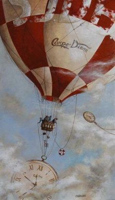 The Hours Fly Away. by Catherine Chauloux Balloon Rides, Hot Air Balloon, Creation Art, Art Deco, All Nature, Art Themes, Surreal Art, Bunt, Illustrators
