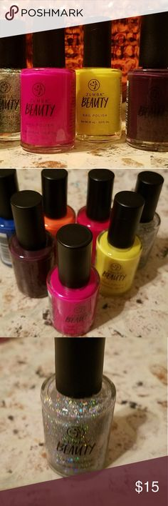 Nail Polish Set of 7 Neon pink, yellow, orange, blue purple, red, sparkle!  Zumba Beauty products Makeup