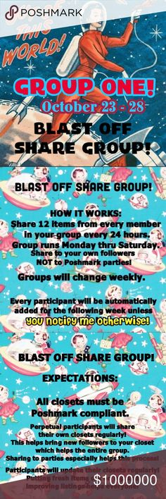 🚀GROUP ONE🚀BLAST OFF🚀 Let's support each other and make some sales! 💰 This is a no drama zone! 🚫 Boutique Accessories