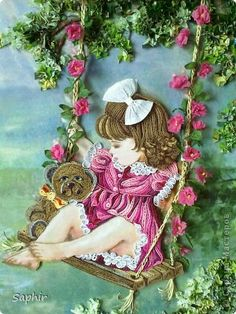 Картина панно рисунок Квиллинг Торцевание На качелях квиллинг Бумага Бумажные полосы Клей Материал природный Салфетки фото 9