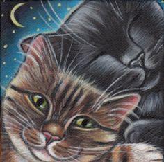 Cuddling Kitties - Mini Painting