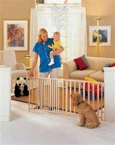 The hardware mounted Extra Wide Swing Gate features a span width of up to for blocking off entire hallways or rooms. The swing open design can be set to open in, out or both directions. This gate can be used with pets or children. Home Depot, Extra Wide Baby Gate, Kids Gate, Pet 5, Wooden Swings, Pet Gate, Baby Gates, Dogs And Kids, How Big Is Baby