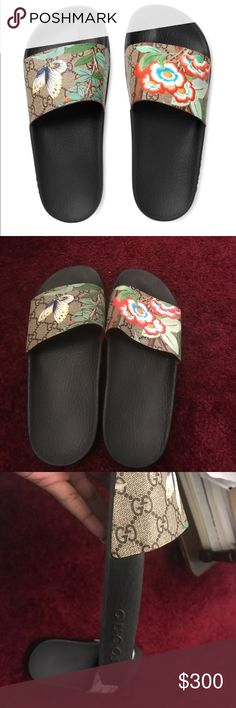 Gucci slides Gucci slides from Bloomingdales size 8. (Selling these for my mom by the way) they don't fit her and they don't have half sizes ... brand new never worn and  no longer have the box sorry! Any questions ask! Gucci Shoes Slippers