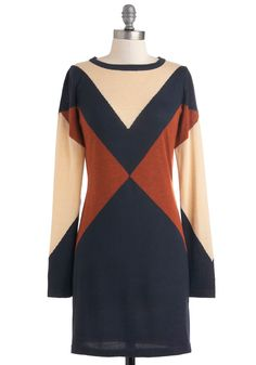 Even and Mod Dress - Blue, Brown, Tan / Cream, Casual, Long Sleeve, Short, Mod, Sweater Dress, Fall, Colorblocking, Winter