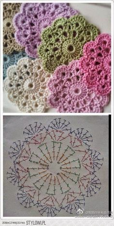 "Delicadezas ""Crochet Flower Coaster - with Diagram"", ""Crochet - coasters pattern (instructions in Russian)"", ""Free crochet coaster pattern using one Mandala Au Crochet, Crochet Diy, Crochet Motifs, Crochet Flower Patterns, Crochet Squares, Love Crochet, Crochet Doilies, Crochet Flowers, Granny Squares"