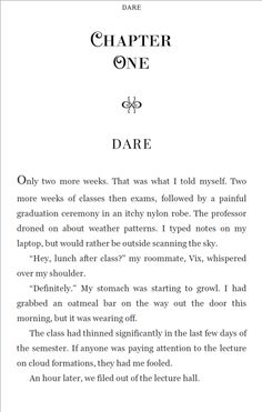 Dare by T.A. Foster Chapter Heading sample page