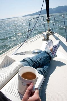 Okay, this isn't home or beside the bed... but oh my. Reading, coffee, open water... paradisaical...
