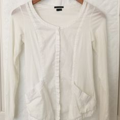 Theory Thin Cardigan From Theory. Very thin t-shirt material cardigan with a scoop neck. It's a very fitted cardigan especially the sleeves. It's a size S but fits like a XXS Theory Sweaters Cardigans