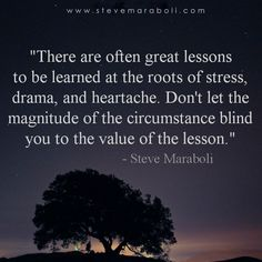 There are often great lessons to be learned at the roots of stress, drama, and heartache. Don't let the magnitude of the circumstance blind you to the value of the lesson. - Steve Maraboli