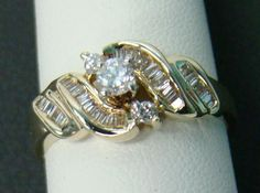 14K YELLOW GOLD RING 1/2 CTTW ENGAGEMENT ROUND BAGUETTE DIAMONDS 3.7g SIZE 7 #SolitairewithAccents