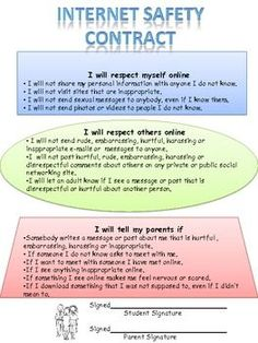 Internet Safety Contract for Middle School Students