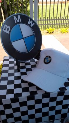 BMW Logo Cardboard Cut Out & BMW Cap