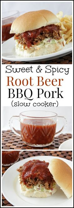 Sweet & Spicy Root Beer BBQ Pork, slow cooker recipe with an easy homemade BBQ sauce | snappygourmet.com Entree Recipes, Sandwich Recipes, Gourmet Recipes, Pork Recipes, Sweet Recipes, Best Slow Cooker, Slow Cooker Recipes, Crockpot Recipes, Slower Cooker